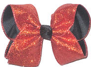 MEGA Orange Glitter over Black Double Layer Overlay Bow