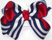 Medium Red with White and Navy Stripe School Bow