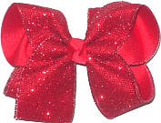 MEGA Red Glitter Mesh over Red Double Layer Overlay Bow