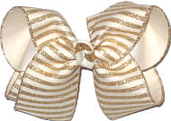 Large Light Ivory with Gold Glitter Stripes over Light Ivory Double Layer Overlay Bow
