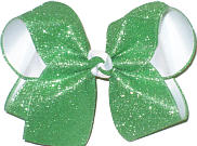 MEGA Green Glitter over White Double Layer Overlay Bow