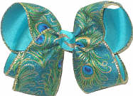 Large Peacock Feather Print over Blue Lagoon Double Layer Overlay Bow