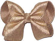 Large Three Layer Glittery Antique Gold Triple Layer Overlay Bow