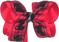 Large Red and Black Plaid with Flocked Scotty Dogs over Red Double Layer Overlay Bow