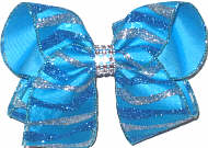 Large Turquoise and Silver Glitter Stripes on Chiffon over Turquoise with Rhinestone Center Band Double Layer Overlay Bow