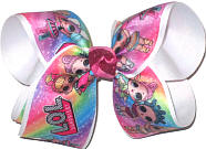 Large LOL Characters over White Double Layer Overlay Bow