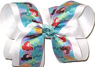Large Mermaids on Aqua over White Double Layer Overlay Bow