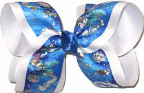 Large Silver Hologram Mermaids on Blue over White Double Layer Overlay Bow