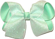 Large White Glitter Mesh over Aqua Double Layer Overlay Bow