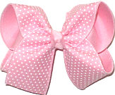 Large White Raised Dots on Pink over Pink Double Layer Overlay Bow