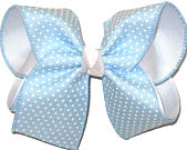 Large White Raised Dots on Millenium Blue over White Double Layer Overlay Bow