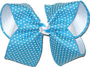Large White Raised Dots on Turquoise over White Double Layer Overlay Bow