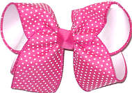 Large White Raised Dots on Shocking Pink over white Double Layer Overlay Bow