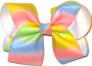 Large Multicolor Pastel over White Double Layer Overlay Bow