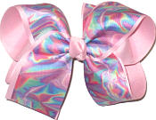 Large Multicolor Kalidascope Pattern over Pink Double Layer Overlay Bow
