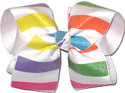 Large Primary Color Glitter Stripes over White Double Layer Overlay Bow