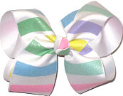 Large Pastel Color Glitter Stripes over White Double Layer Overlay Bow
