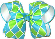 Large Turquoise and Lypple Check over White Double Layer Overlay Bow