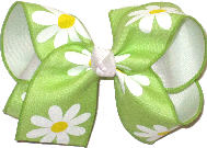Large Daisies on Lypple over White Double Layer Overlay Bow
