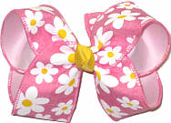 Large Daisies on Pink over Light Pink Double Layer Overlay Bow