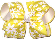 Large Daisies on Maize over White Double Layer Overlay Bow