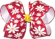 Large Daisies on Red over White Double Layer Overlay Bow