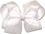 Large White Glitter Spirals over White Double Layer Overlay Bow