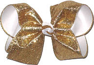 Large Gold Heavy Glitter over White Double Layer Overlay Bow