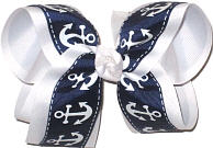 Large Navy with White Anchors over White Double Layer Overlay Bow