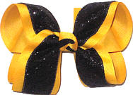 Large Black Heavy Glitter over Yellow Gold Double Layer Overlay Bow