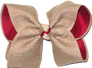 Large Khaki Canvas over Cranberry Double Layer Overlay Bow