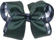 Large Forest over Navy and White Plaid Double Layer Overlay Bow