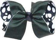 Large Forest over Navy with White Coin Dots Double Layer Overlay Bow