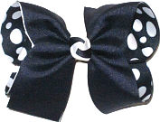 Large Navy over Navy with White Coin Dots Double Layer Overlay Bow