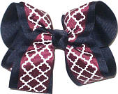 Large Burgundy and White Quatrafoil over Navy Double Layer Overlay Bow