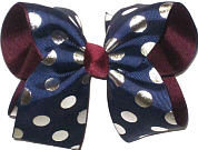 Large Navy with Silver Coin Dots over Burgundy Double Layer Overlay Bow