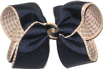 Large Navy over Khaki and White Check Double Layer Overlay Bow