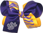 Large Purple and Gold Tiger Stripes with Purple and Crystal Paw Print Double Layer Overlay Bow