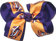 Large Eye of the Tiger on Yellow Gold over Purple Double Layer Overlay Bow