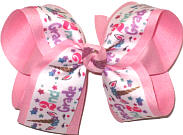 Large Second Grade Unicorn Print over Pink Double Layer Overlay Bow