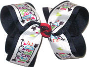 Large First Grade Print over Navy Double Layer Overlay Bow