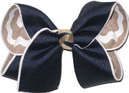 Large Navy over White and Khaki Canvas Double Layer Overlay Bow