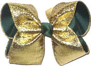 Large Metallic Gold over Forest Green Double Layer Overlay Bow
