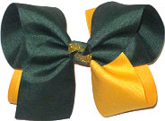 Large Forest Green and Yellow Gold Double Layer Overlay Bow