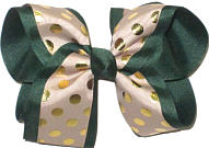 Large Metallic Gold Dots on Khaki over Forest Green Double Layer Overlay Bow