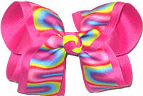 Large Multicolor Dripping Paint Print over Hot Pink Double Layer Overlay Bow