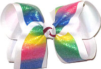 Large Pastel Rainbow with Glitter over White Double Layer Overlay Bow