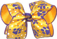 Large Purple Paw Prints on Yellow Gold Satin over Yellow Gold Double Layer Overlay Bow
