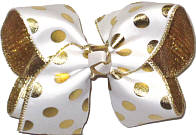 Large White with Metallic Gold Dots over Metallic Gold Double Layer Overlay Bow