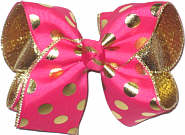 Large Shocking Pink with Metallic Gold Dots over Metallic Gold Double Layer Overlay Bow